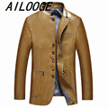 Men's Leather Jackets Spring and Autumn Slim Fit Faux Leather Jacket Casual Warm Coats Stand Collar Men PU Leather Large Size