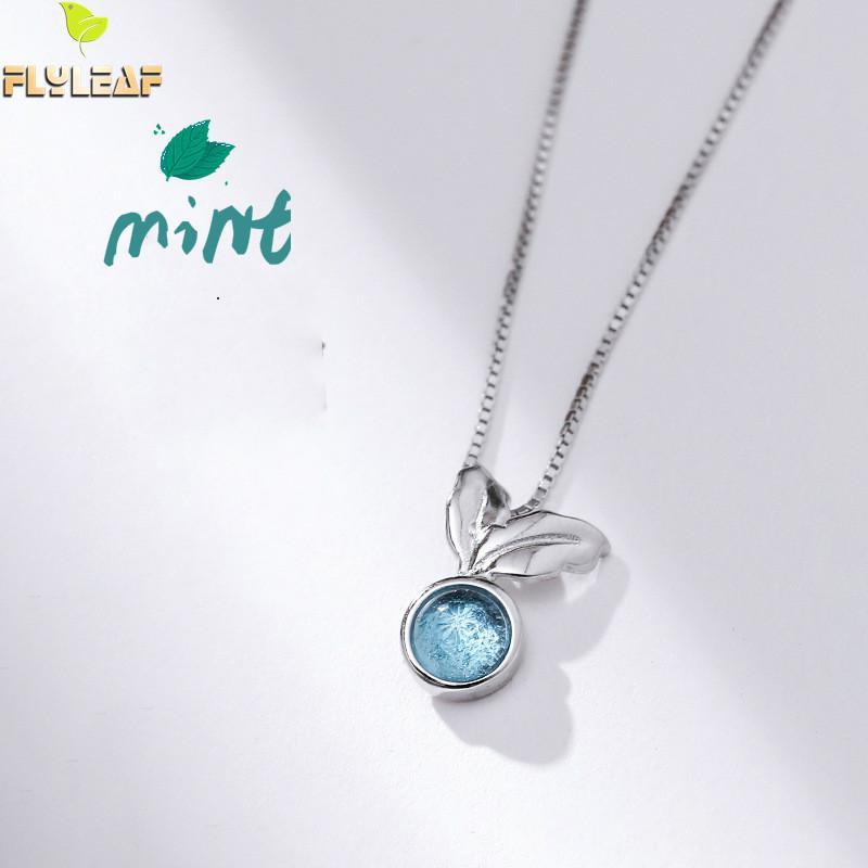 Aggressiv Flyleaf 925 Sterling Silber Blau Kristall Mint Blätter Halsketten & Anhänger Für Frauen Kleine Frische Student Mädchen Mode Schmuck