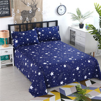 1pcs Polyester Four Seasons Flat Bedsheet Blue Night Sky Printed Bedding Fitted Sheet Mattress Cover Bed Sheet Bedspreads Cover Sheet     -