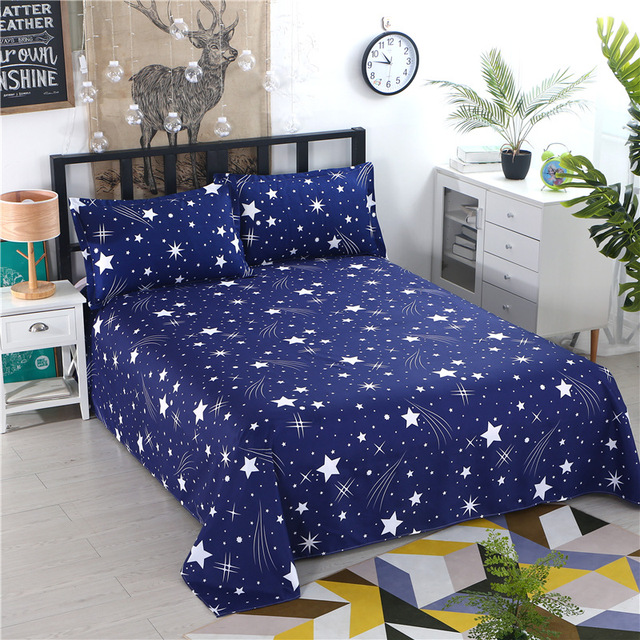 1pcs Polyester Four Seasons Flat Bedsheet Blue Night Sky Printed Bedding Fitted Sheet Mattress Cover Bed Sheet Bedspreads Cover