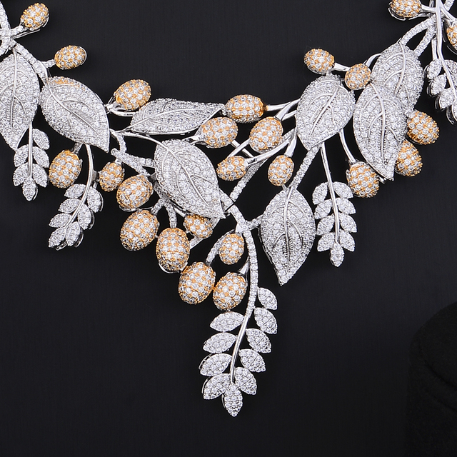 Unique Luxury Leaf Flower Cubic Zircon Jewelry Sets