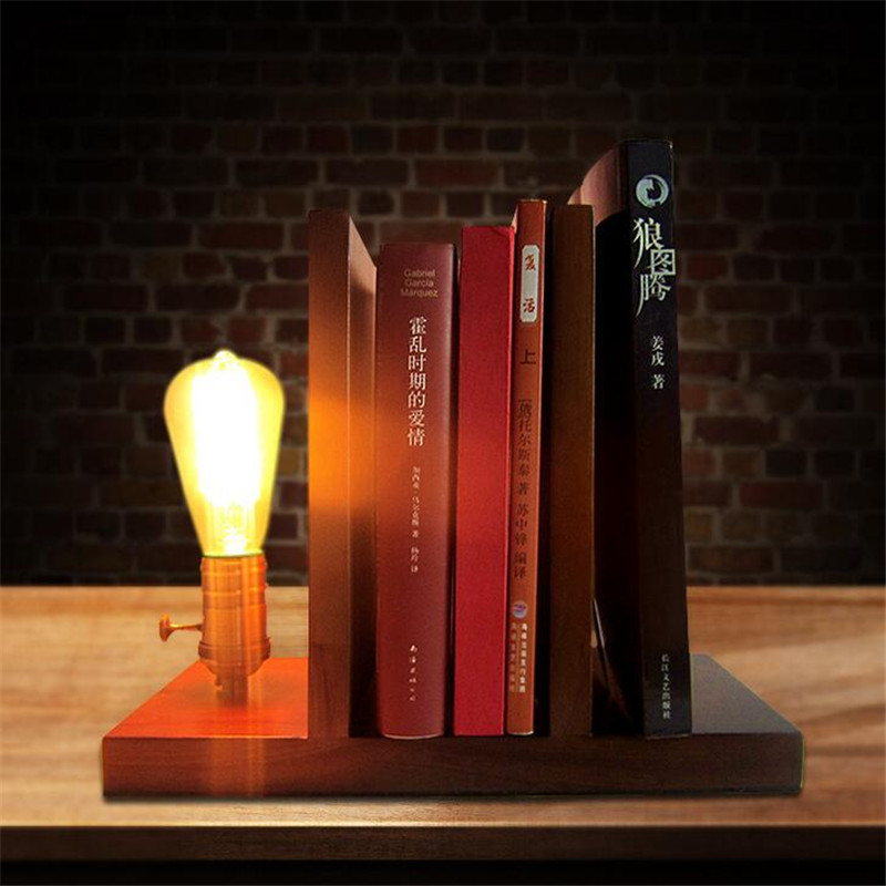 Loft Industrial Vintage Nature Wood Base Table Lamp E27 Light Modern Desk Lamp for Study Living Room Workroom industrial pipe table lamp loft vintage novelty desk lamp study room light night light creative decoration desk lamp metal