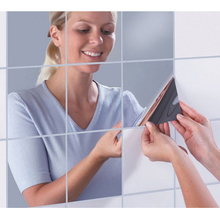 6/9/16PCS Mirror Wall Sticker Square 15*15cm Bathroom Home Decoration Creative Fashion 3D Removable