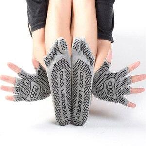 Image 3 - Najlepsze antypoślizgowe skarpetki do jogi rękawiczki damskie Grip Sticky Pilates Toe Toeless Sox bez poślizgu z wystającym palcem lepkie dno Barre Fitness wyściełane