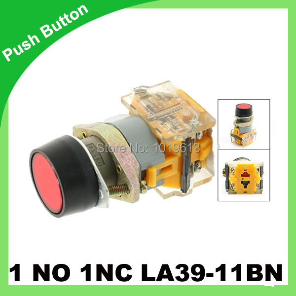 Orange Sign Momentary Press Push Button Switch Non Lock 22mm 1 NO N/O 1 NC N/C