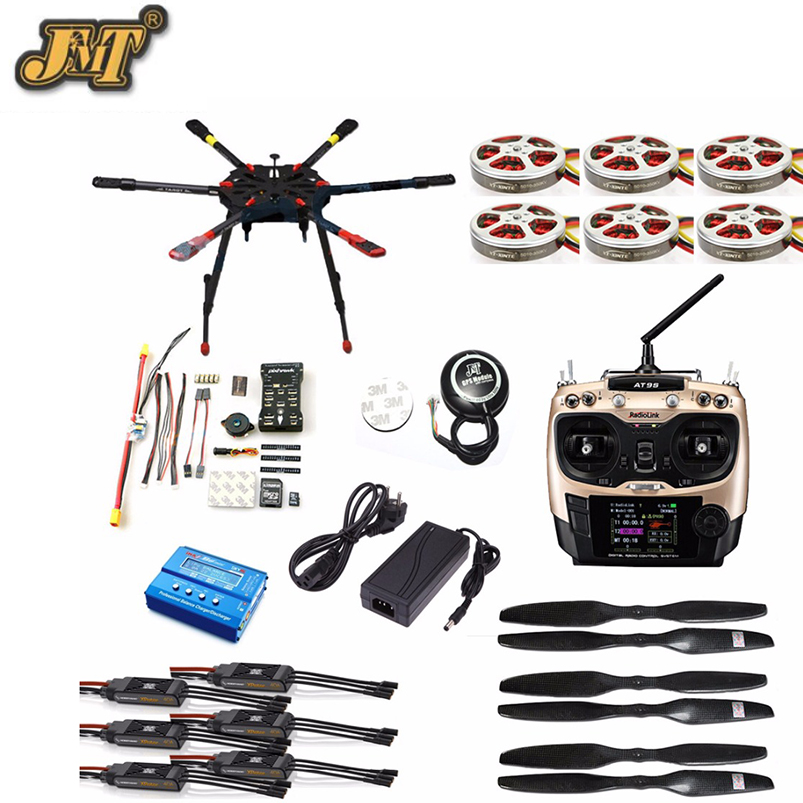 JMT Full Set Hexacopter GPS Drone Aircraft Kit Tarot X6 6-Axle TL6X001 PX4 32 Bits Flight Controller Radiolink AT9S TX&RX hobbylord part st 550c 001 flight controller with gps wholeale price rc drone aircraft accessories free shipping