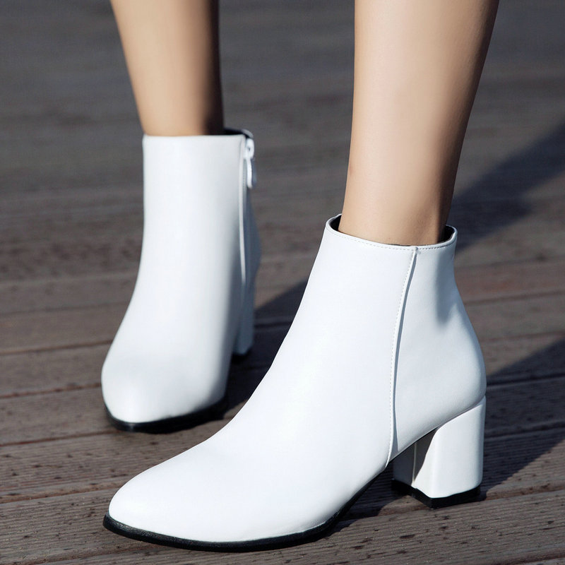 White Ankle Boots for Women Chunky