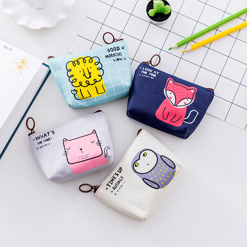 Unisex Cheapest Canvas Cartoon Cute Small Coin Change Purse Key Car Pouch Little Money Bag Girl's Mini Coin Wallet