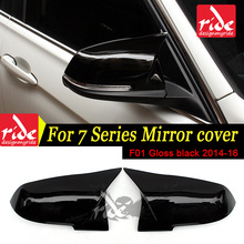 Fit For BMW F01 F02 F03 7-Series 740i 750i 760i 2014-2016 M-Style High-quality ABS Gloss Black Rear View Mirror Cover Decoration gas fuel brake footrest foot pedal plate pad trim for bmw 5 series f10 7 series e65 f01 f02 730li 740i li 750i li 760i at