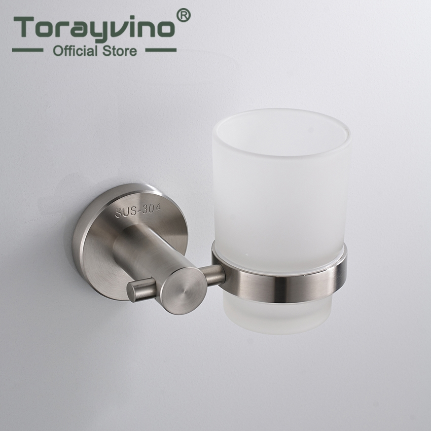 Torayvino Chrome Finish Nickel Brush Stainless Steel Wall Mounted Bathroom Toothbrush Holder Rack Shelf image