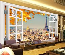 Modern Wallpaper Eiffel Tower 3D Wallpaper Walls Bedroom Living Room Stereoscopic Winodw Landscape TV Desktop Brick Mural(China)