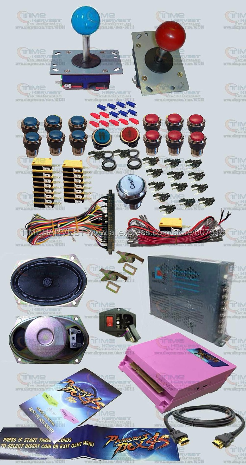 Arcade parts Bundles kit With 815 in 1 Pandora's Box 4S Long shaft Joystick Chrome illuminated button Oval speaker Jamma Harness sanwa button and joystick use in video game console with multi games 520 in 1