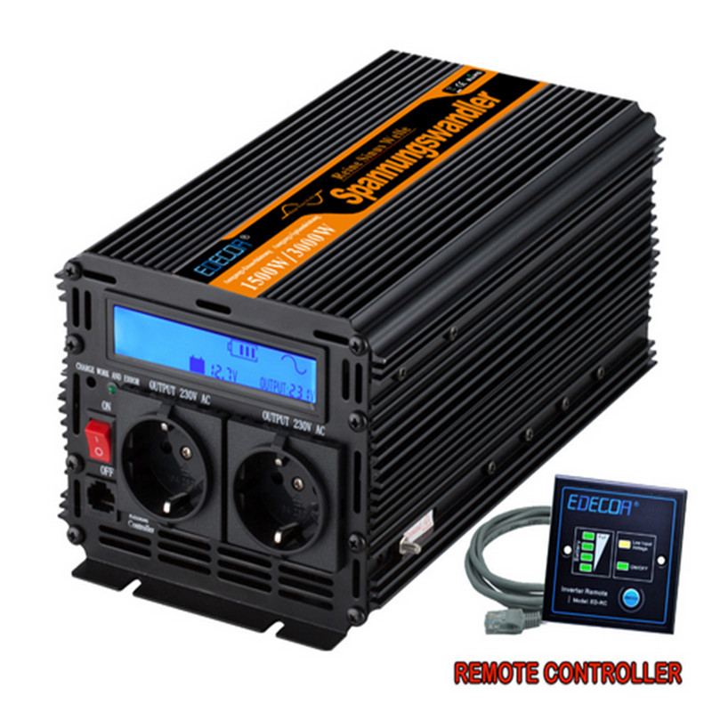 EDECOA 3000W Peak Power Inverter 1500Watt Pure Sine Wave Solar Inverter solar power Converter 12V DC to 220V 230V 240V with LCD