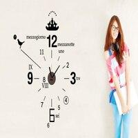 Творческий настенные часы и наклейка последние крупномасштабные творчества часы Простой стиль моды черный diy Сборка Стикер Часы