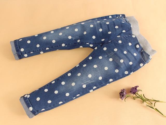 O Envio gratuito de Bebê Meninas Primavera Outono Denim Calça Jeans Meninas Jeans Skinny Calças Compridas Crianças Dot-padrão Calça Jeans Casual Criança calças