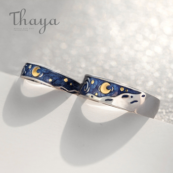 Stars & Moon Silver Couple Rings 1
