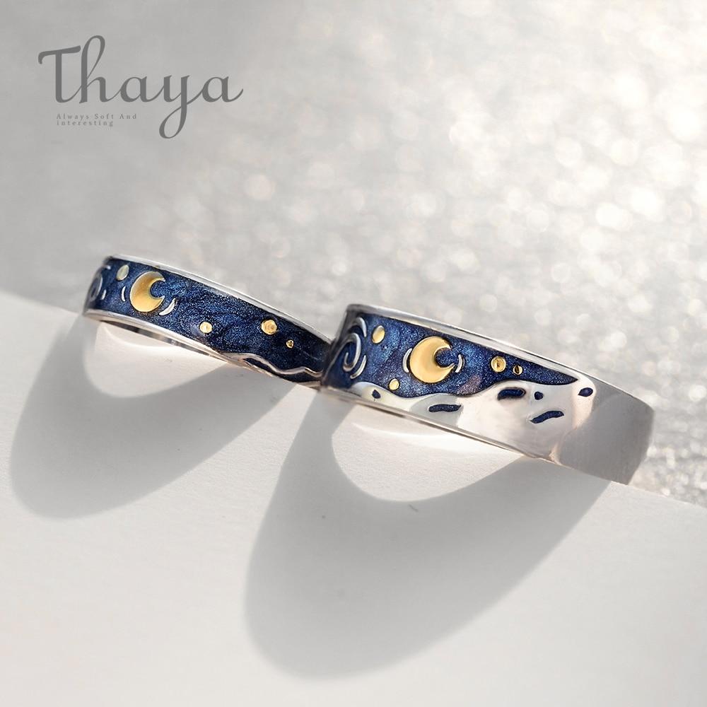 Thaya Van Gogh der Emaille paar ringe Sky Sterne mond s925 silber Glitter Ringe Engagement Ring Hochzeit Schmuck Für Frauen