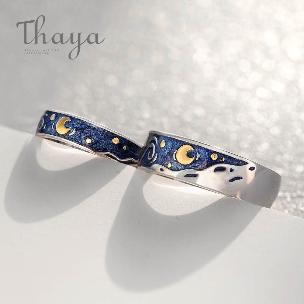 Thaya Van Gogh's Enamel couple rings Sky Star moon s925 silver Glitter Rings Engagement Ring Wedding Jewelry For Women(China)