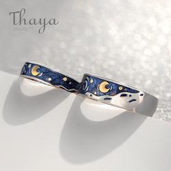 Тайя Ван Гога эмаль пару кольца небесно-Звезда Луна s925 Серебряные блестящие кольца Помолвочное, обручальное кольцо украшения для Для