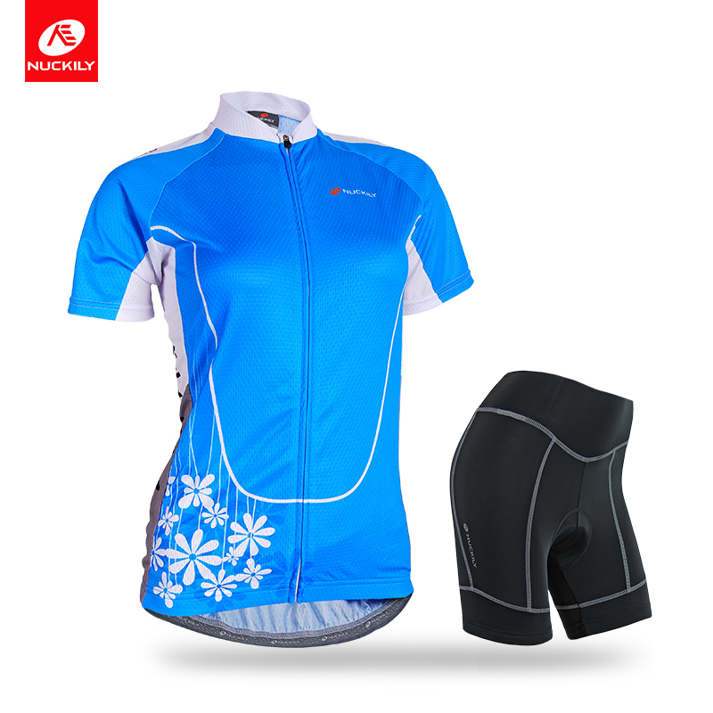 NUCKILY Summer Womens Cycling Jersey Set Comfortable Bicycle Clothing With Foam Pad Shorts NJ515NS359