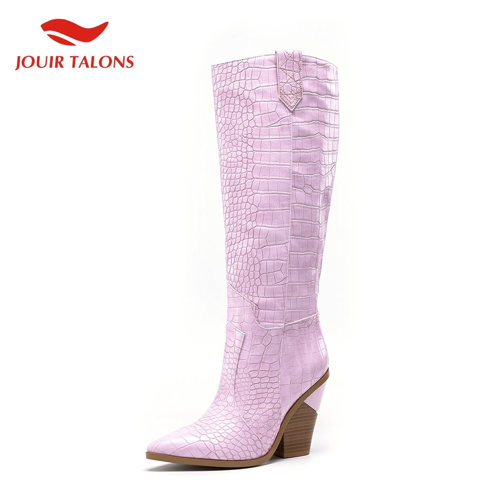 Plus Size 46 Fashion Top Quality High Heels knee high Boots Women Shoes Party Western Boots