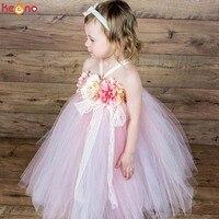 שמלת טוטו פרח ילדה שמלת אפרסק ורוד ושנהב לאביב תמונות פסחא שמלת ילדות קטנות שמלת חתונת מסיבת יום הולדת