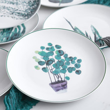 1pcs 8 inch Green Plants Dinner Plates Porcelain Dinner Set Christmas Ceramic Dishes Xmas Cake Pastry Fruit Dessert Tray Cutlery(China)