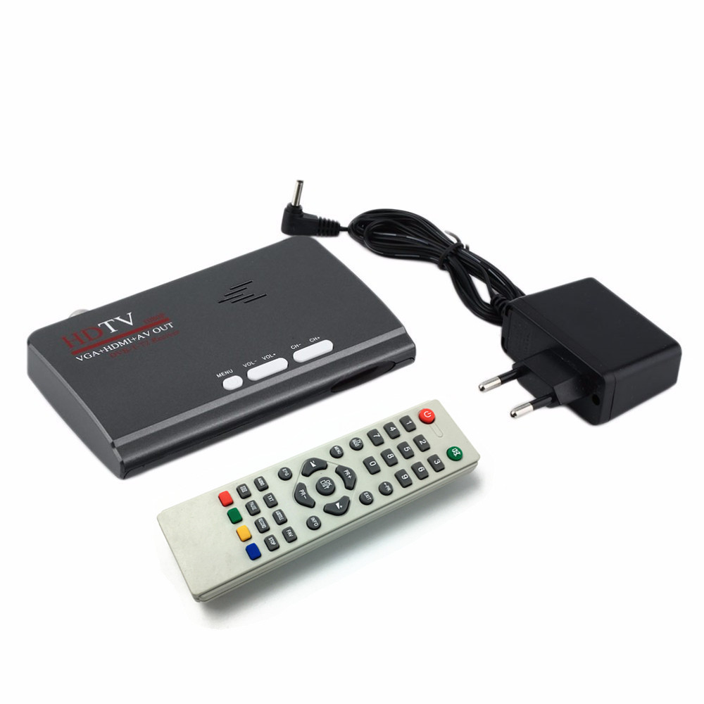 EU US  Digital Terrestrial HDMI 1080P DVB-T/T2 TV Box VGA AV CVBS Tuner Receiver With Remote Control free shipping scart dvb t digital terrestrial receiver with remote control