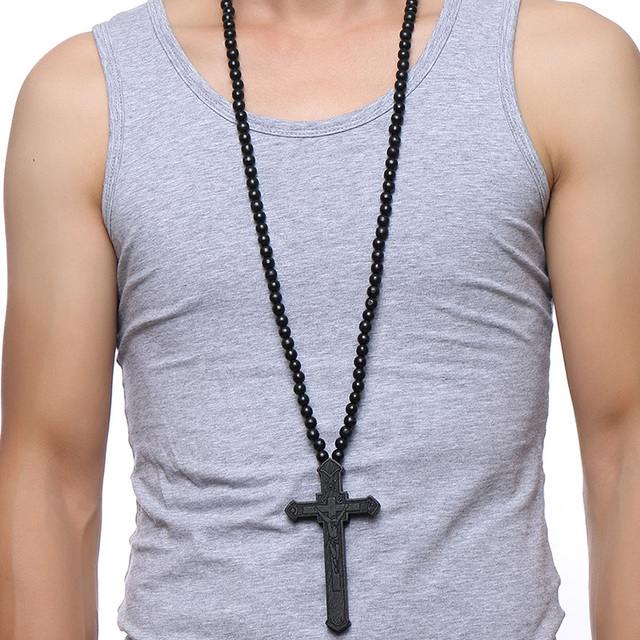 Large Wooden Cross w/ Wooden Bead Necklace