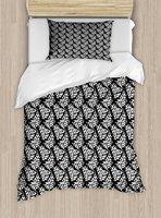 Черный и белый постельное белье абстрактные каракули Стиль листья скандинавский природы на темном фоне 4 шт. Постельное белье