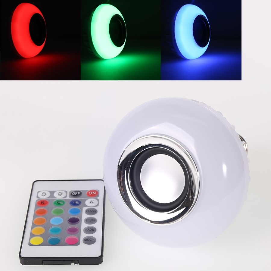 (4pcs/Lot) Wireless Bluetooth Remote Control Mini Smart Audio Speaker Bulb RGB Color Light Music E27 LED Lamp smuxi e27 led rgb wireless bluetooth speaker music smart light bulb 15w playing lamp remote control decor for ios android