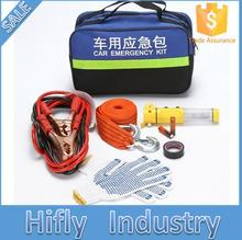 Car emergency security kit safety hammer tow rope dot gloves electrical tape battery cable portable reflective