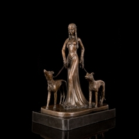 Arts Crafts Copper Classical lady walk the dog bronze sculptures Chinese Foo dogs Animal Statues bronze figurines Outdoor Statue