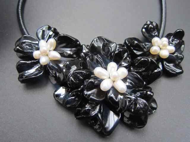 Màu trắng ngọc trai Màu Đen Mẹ của Ngọc Trai Vỏ Hoa Vòng Cổ