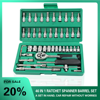 TUOSEN 46PCS in 1 auto mechanic tools hand ratchet tool set socket wrench mini repair professional gereedschap kit for car