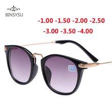 Óculos de sol para miopia, lente cinza pernas de metal com graus-1 -1.5 -2.0 -2.5 -3.0 -3.5 -4.0