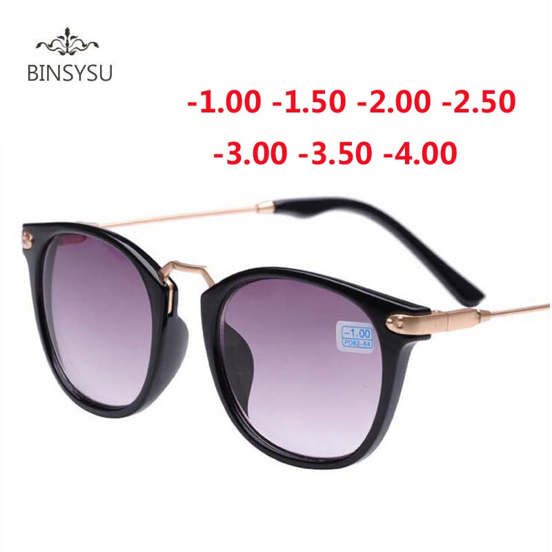 New Finished Myopia Sun Glasses Fashion Gray Lens Metal Legs With Degrees Sunglasses -1 -1.5 -2.0 -2.5 -3.0 -3.5 -4.0