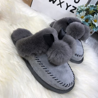 Natural Wool Women Slippers Fashion Lady Winter Home Slipper Woman Warm Indoor Slippers Top Quality Soft Wool Lady Home
