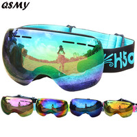 Free Shipping Top Sale Windersport Double Lens UV400 Anti Fog Wide Vision Spherical Ski Glasses Skiing