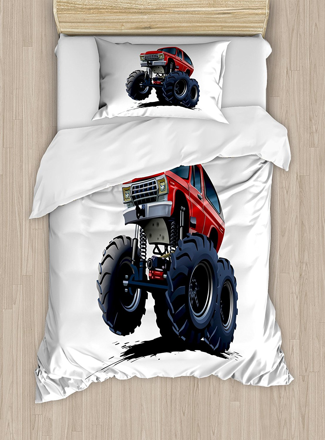 Truck Duvet Cover Set Extreme Off Road Vehicle Cartoon