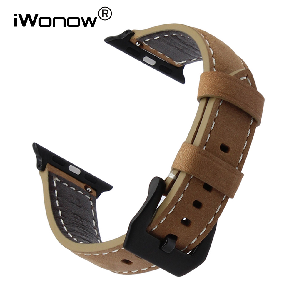 Italy Handmade Leather Watchband for iWatch Apple Watch 38mm 40mm 42mm 44mm Series 1 2 3 4 Wrist Band Steel Clasp Strap Bracelet цена