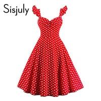 Sisjuly Vintage Dress Women 2017 Spring Red Elegant Dots Button Butterfly Sleeve Dress Summer Cute V