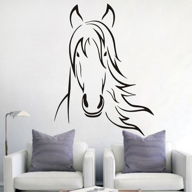 art design cheval t te vinyle wall sticker animaux style. Black Bedroom Furniture Sets. Home Design Ideas