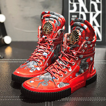 2019 Red Mens Boots Handmade Men Shoes Punk Fashion Ankle Round Toe Man 5#15/25E50