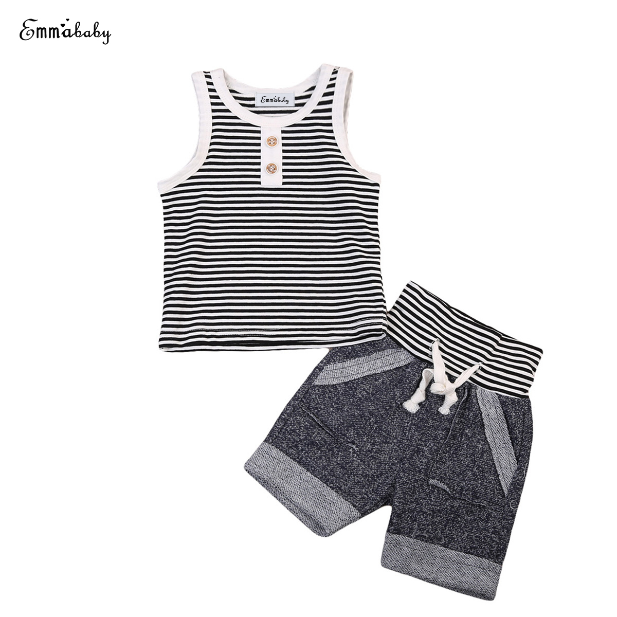 2018 summer casual kid clothes set New Baby Toddler Kids Boy sleeveless Cotton striped Clothes T Shirt Tee Top+shorts Outfit Set 2pcs set baby clothes set boy