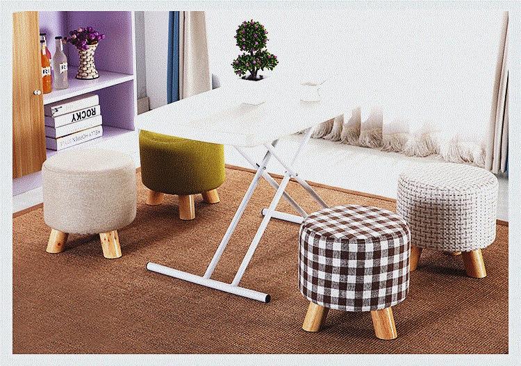 Household Living Room Stool Cafe Tea Wood Leg Free Shipping Green Color  Stool Shop Retail Wholesale