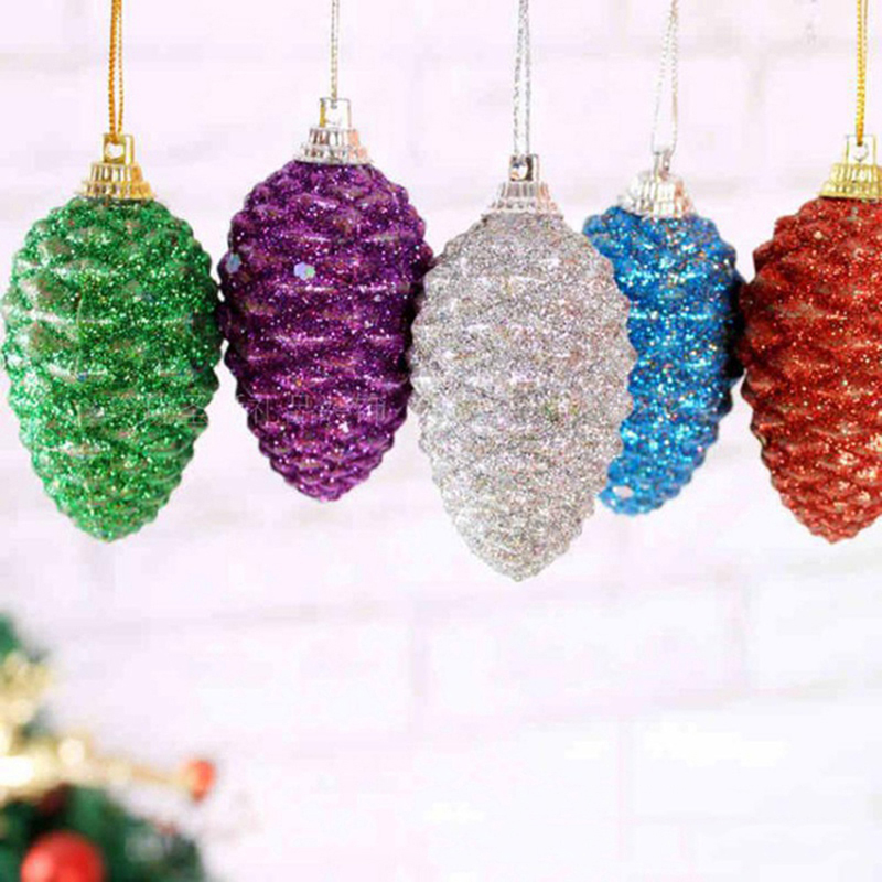 6 pcs christmas colored pine cones christmas sequins colored balls christmas tree ornaments decorative ball crafts decorations