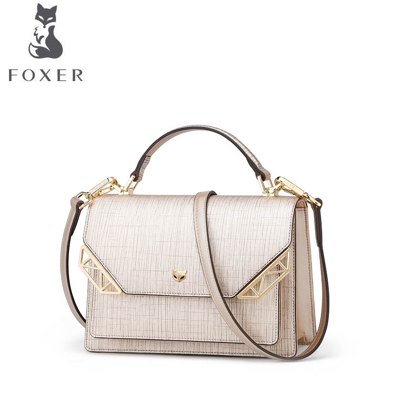 FOXER brand bag female 2018 new Korean fashion one shoulder slung handbag Small square package bag female 2018 new fashion sequins convenient bread bag chain small square bag shoulder slung dinner bag