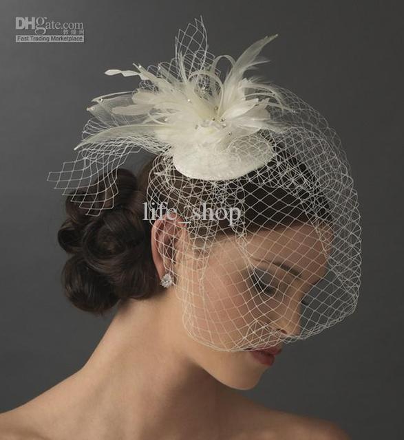 2015 Birdcage Veils Cheap Ivory Bride Veils Feather Tulle One Layer Wedding Veils