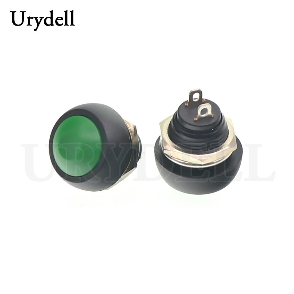 1 шт. красный/зеленый/белый/черный/синий/желтый/оранжевый ВКЛ-ВЫКЛ 12 мм водонепроницаемый Мгновенный кнопочный переключатель SPDT - Цвет: Green
